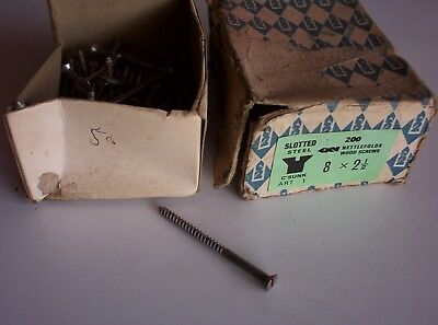"Woodscrews new old stock, 50no.8 x 2 1/2"", slotted steel C/sunk"
