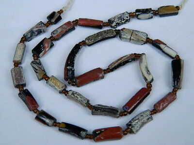 Ancient Mosaic Glass Fragment Beads Strand Roman 200 BC NO RESERVE   #BE5116