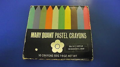 Vintage 1960's Original MARY QUANT Pastel CRAYONS + Daisy TIN + Instructions