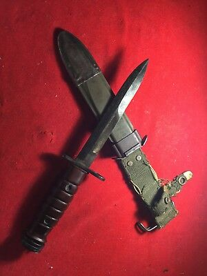 WW2 WWII US M4 CASE CUTLERY M1 Carbine Bayo Fighting Combat Knife W/ Odd Handle