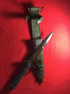 RARE WW2 WWII US Aerial M4 Bayo Fighting Combat Knife M1 Carbine M8A1 Scabbard