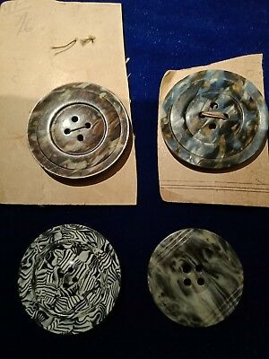 Vintage celluloid marble wafer buttons 1930s Art Deco