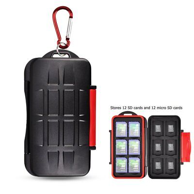 Anti Shock Holder Storage SD Memory Card Case Cover Waterproof With Carabiner