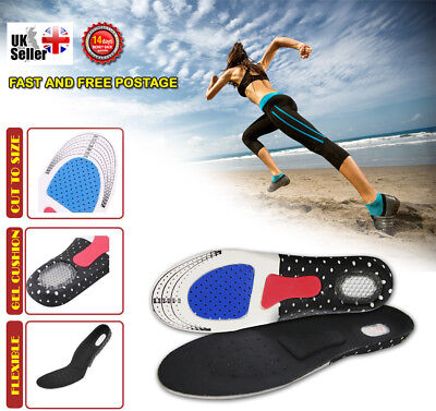 Unisex Orthotic Arch Foot Support Shoe Insoles Sports Shock Absorb Gel Heel Feet