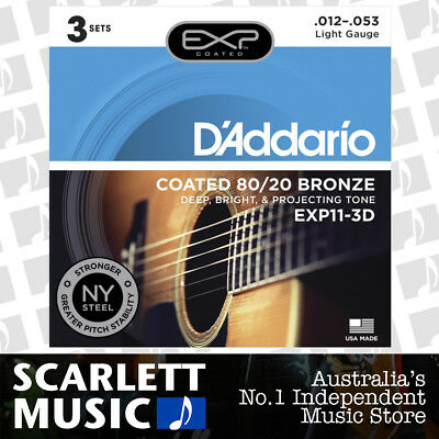 D'Addario EXP11 3 Sets Coated 80/20 Bronze Acoustic Guitar Strings Light 12-53 -