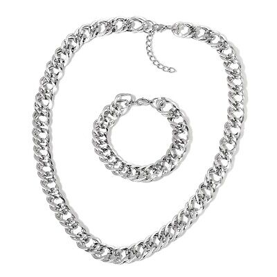 """Hypoallergenic Stainless Steel Curb Bracelet 8.5"""" and Necklace Set 24"""""""