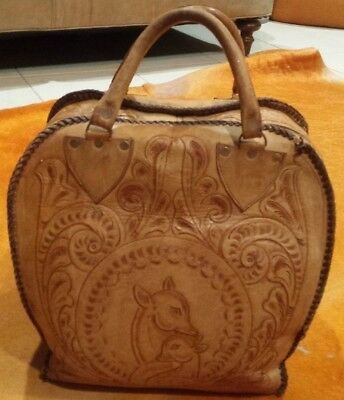 Womens Vintage 70s OOAK Tan Oversized Hand Tooled Leather Lacing Overnight Bag