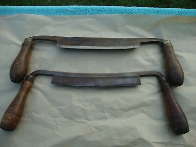 """2 Vintage 8"""" Draw Knives Acto Tool Works & (L IIowes / Sandwich?)"""