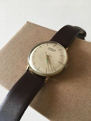 Junghans Automatic Armbanduhr wie Meister, Max Bill, gold, 32,7mm, orig. Vintage