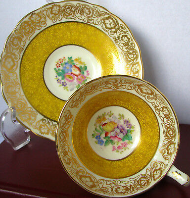 Hammersley Gold Chintz Teacup & Saucer, Yellow With Floral Center, Hand Painted