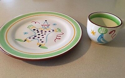 Vintage Stangl Pottery Child's Cup and Plate - Circus Clown