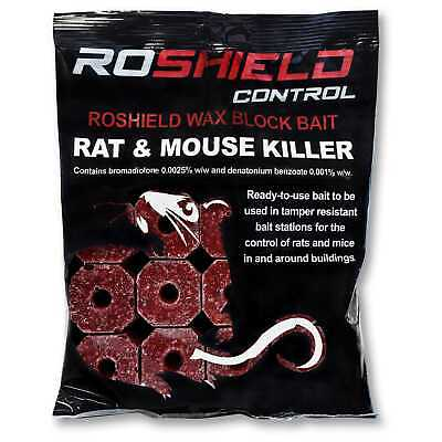 Roshield 45 x 20g Poison Block Bait - Rodent Mice Mouse Rat Professional Control