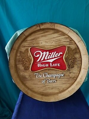 Miller High Life Faux Wooden Barrel End Beer Sign (Plastic)