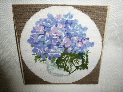 Vintage Hand Embroidered unframed Hydrangeas Penelope Coats Tapestry England