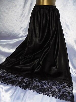 Stunning vtg silky black satin  half slip  lace  32 to 48 waist  20/22  42 long