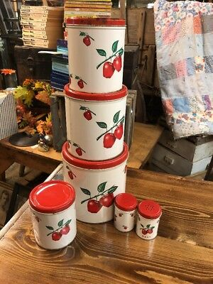 4 Vintage Tin Kitchen Canisters - Apples, Pears, Cherries - Matching Retro Set
