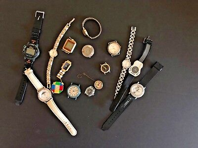 Lot of 16 Vintage antique Misc.mens & lady watch watches & Parts