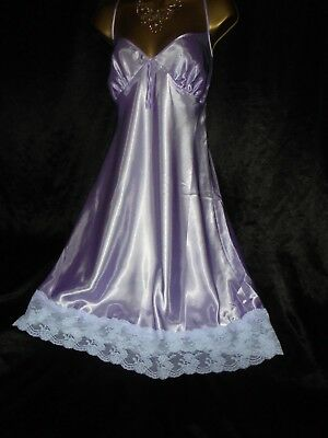 Stunning silky satin nightie dress slip negligee nightdress lilac 18
