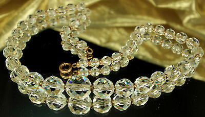 DECO ROCK CRYSTAL Necklace QUARTZ Gemstone 1930s SIGNED SIMMONS Period Chain FAB