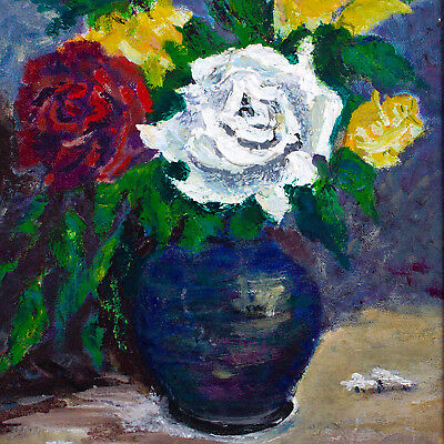 Vintage Floral Abstract Original Oil Painting 20th Century Impressionism Art Old