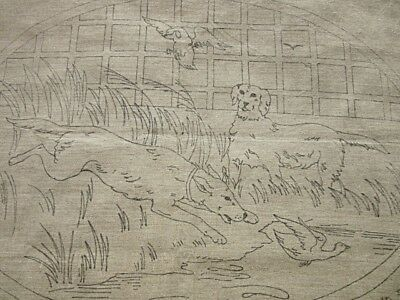 ANTIQUE FRENCH PRINTED CANVAS PANEL to EMBROIDER - RURAL SCENE with CUTWORK