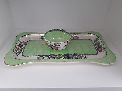 "ART DECO MALING LUSTRE WARE ""SPRINGTIME"" TRAY & BOWLc1930"