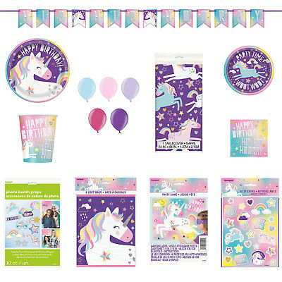 UNICORN Birthday Party Range - Tableware, Balloons, Decorations or Party Game