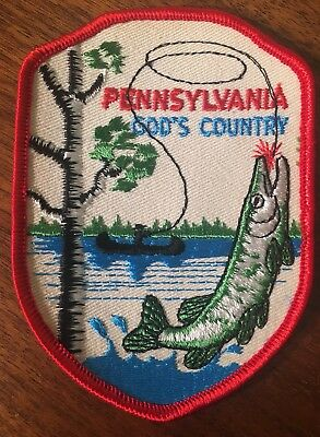 Vtg Voyager Original Pennsylvania GOD'S COUNTRY Fisherman Fish Patch Angler SEW