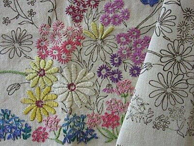 PAIR VINTAGE TRANSFER PRINTED ARMCHAIR COVERS to EMBROIDER & FINISH - FLOWERS