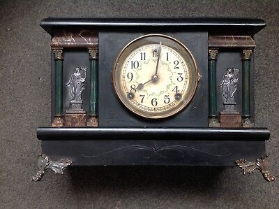 Rare Vintage Antique Sessions Pillar Mantle Clock With Cathedral Gong Chime