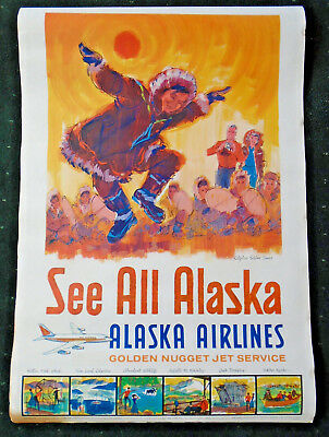 1960's Original Alaska Airlines 24 X 36 Travel Poster - Double Sided!!  (99)