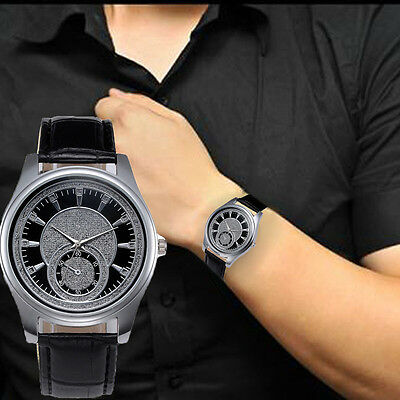 2018 Men Watch Stainless Steel Leather Band  Military Quartz Analog Wrist Watch