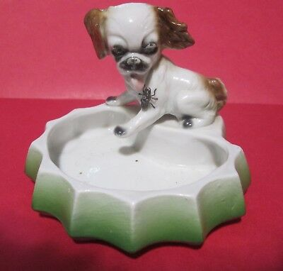 Ugly Spaniel Dog with House Fly Trinket Dish, Mystery Pottery Mark, German?