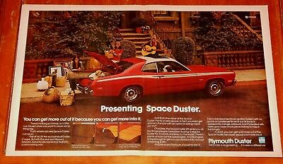 Large 1973 Plymouth Duster In Red Cool Vintage Ad - American 70S Classic Muscle