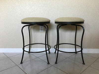 Set Of Charleston Forge Swivel Backless Counter Stools, NY Industrial
