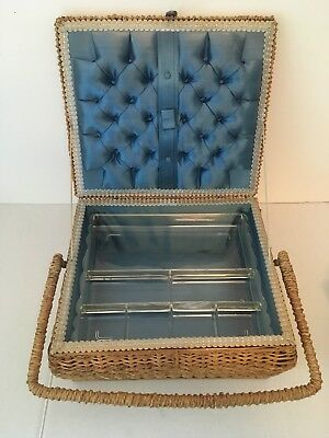 Vintage Wicker Sewing Basket Box with Handle, Plastic Shelf & Blue Satin Lining