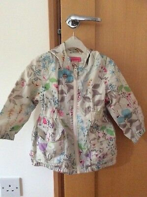 Next Light Rain Jacket With Hood Floral 12-18 Months Lined With Cotton