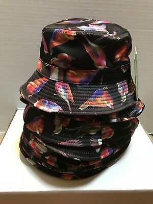 LOT OF 11 BUCKET HATS - BLACK with BIRDS - 100% COTTON