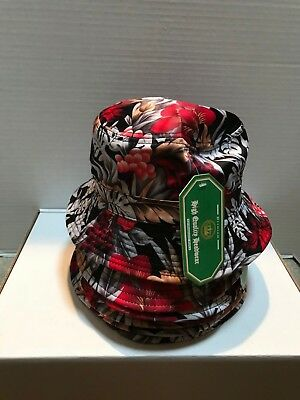 Lot Of 7 Leaves  & Berries Bucket Hats - Red & Black & White - 100% Cotton