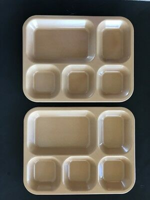 Lot 2 Army Military Divided Mess Cafeteria Trays Tan Brown Marked 1975 NOS USA