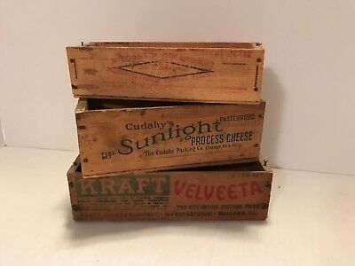 Vintage Lot of 3 wooden cheese boxes. Kraft Velveta, Wisconsin Sharp, Cudahy's