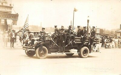 Newport , VT Created Real Photo of Fire Engine and Full Complement of Men