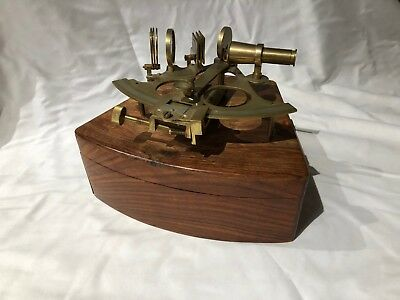 antique brass sextant with box navigation astronomy nautical vintage working