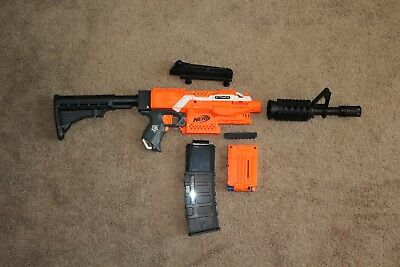 Original Orange Nerf Stryfe with 3D Printed M4 Rifle kit, Ready for Modification