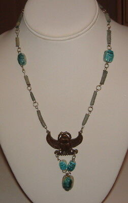 Old Antique Victorian Long Egyptian Turquoise Scarab Bead Beetle Drop Necklace