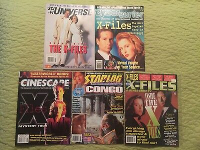 Lot Of 5 Magazines 1995/1996 Featuring The X Files Starlog Cinescape Cybersurfer