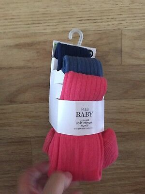 M And S Baby Girls Pink And Blue 3pk Tights Age 12-18 Months Brand New