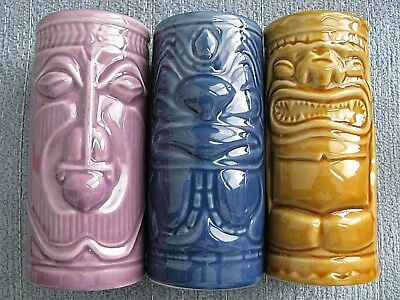 "2001 (3) Different TIKI Accouterments Ceramic Mug Glass Set of 3 5.5"" TALL"