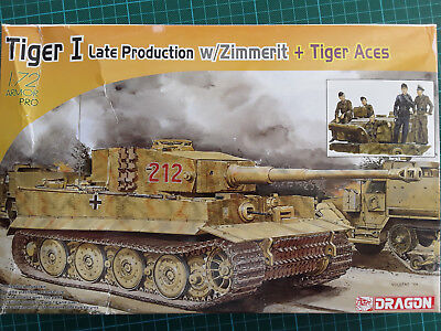 Dragon 1:72 Armor Pro 7440 Tiger I late w/Zimmerit & Tiger Aces