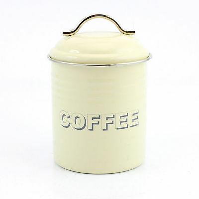 Home Sweet Vintage Retro Cream Coffee Bean Canister Enamel Tin Caddy Storage Jar
